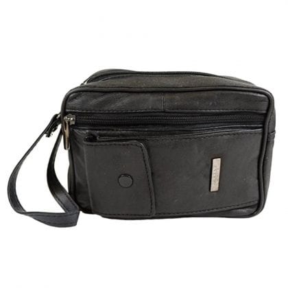 Super Soft Leather Bag with Wrist Strap and Multiple Pockets