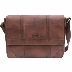 Unisex Prime Hide Ridgeback Vintage Large Brown Leather Messenger Bag