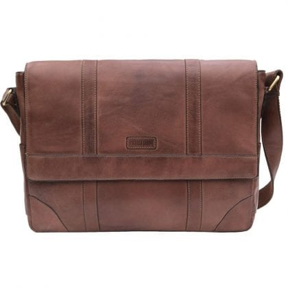 Unisex Prime Hide Ridgeback Vintage Large Brown Leather Messenger Bag