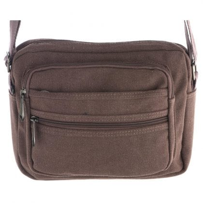 Unisex Multi Zip Canvas Travel - Work Bag with Adjustable Strap and Multi Pockets