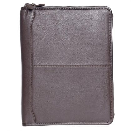Unisex Brown Leather Zip Around File - Business Travel File