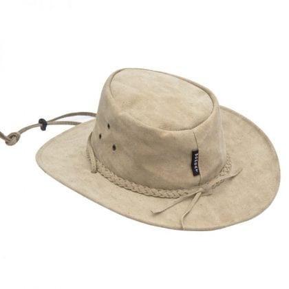 Wombat Leather Soft Sand Washable Style Foldable Outdoor Hat - Back