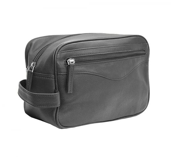 Unisex Stylish Leather Wash - Toiletry - Shaving - Travel Bag by Prime Hide in Black