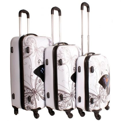 Butterfly Design Set of 3 Suitcases