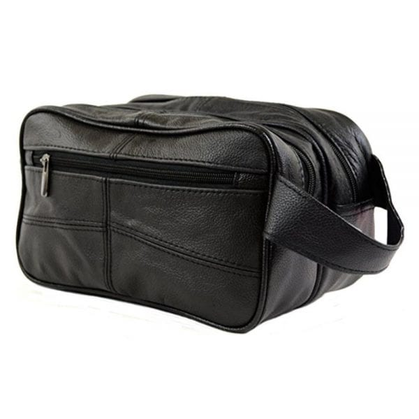 Unisex Leather Toiletries - Travel - Holiday - Over Night - Weekend Wash Bag in Black
