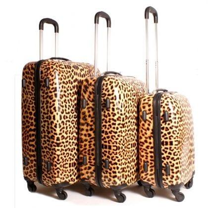 Leopard Print Design Set of 3 Suitcases