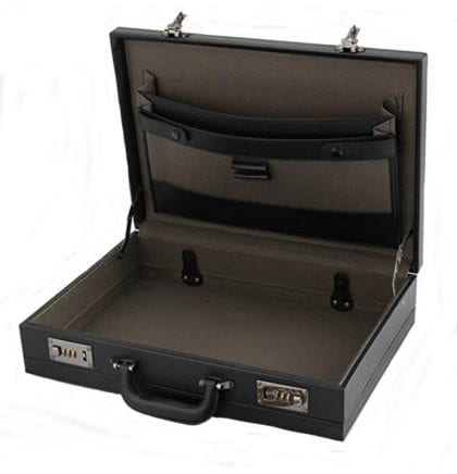 Mens Smooth Faux Leather Expanding Executive Briefcase