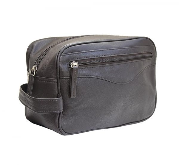 Unisex Stylish Leather Wash - Toiletry - Shaving - Travel Bag by Prime Hide in Brown