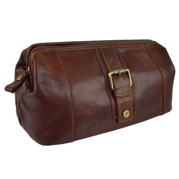 Unisex Stylish Leather Toiletry Bag from Prime Hide Trent Range in Rodeo Tan