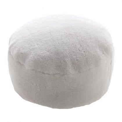 Genuine Short Fleece Sheepskin Pouffe - Footstool in Natural