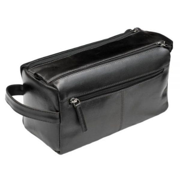Unisex Buff Genuine Leather Luxury Wash - Toiletry Bag by Prime Hide in Black