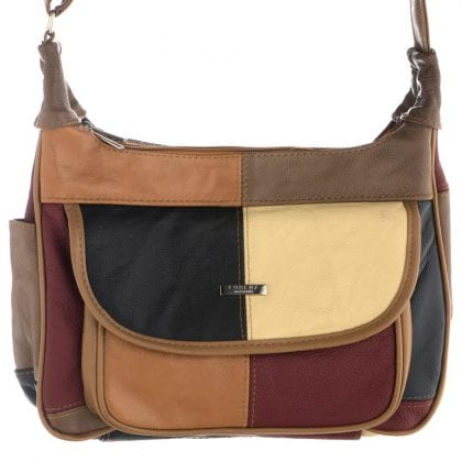 Ladies Genuine Multicolour Patch Leather Handbag with Dual Zip Compartments - Front