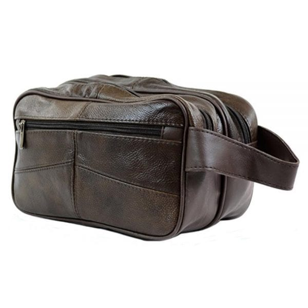 Unisex Leather Toiletries - Travel - Holiday - Over Night - Weekend Wash Bag in Brown