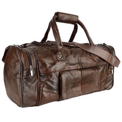 Unisex Large Leather Travel Holdall - Weekend Bag with Adjustable Detachable Shoulder Strap