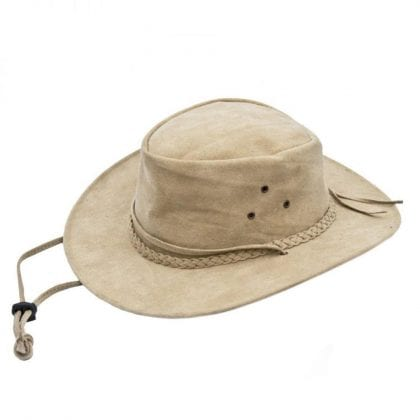 Wombat Leather Soft Sand Washable Style Foldable Outdoor Hat