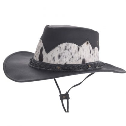 Unisex Genuine Leather Cowboy Hat with Genuine Cowhide Detail