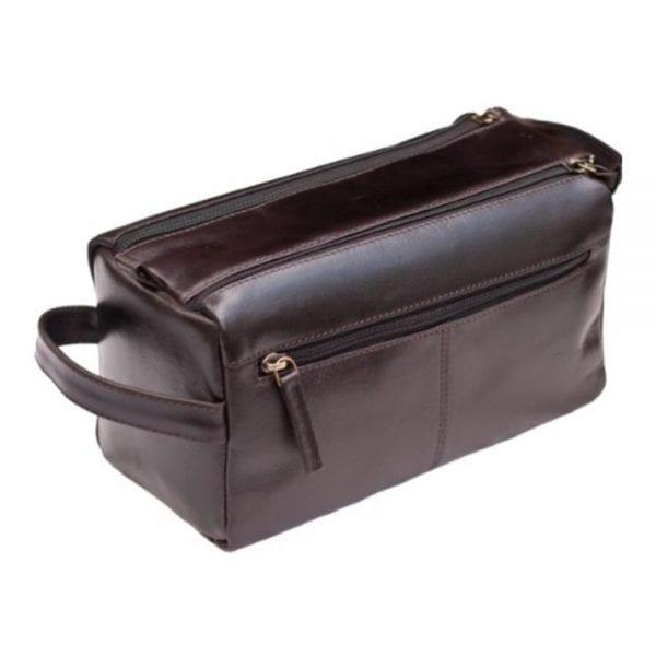 Unisex Buff Genuine Leather Luxury Wash - Toiletry Bag by Prime Hide in Brown