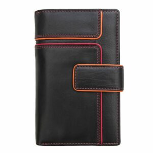 Ladies Leather Wallet Purse with Coin Section and Colour Detail