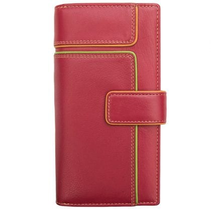 Ladies Large Leather Wallet Purse with Coin Section and Colour Detail