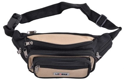 Lightweight Canvas Waist Bag with Multi Zips