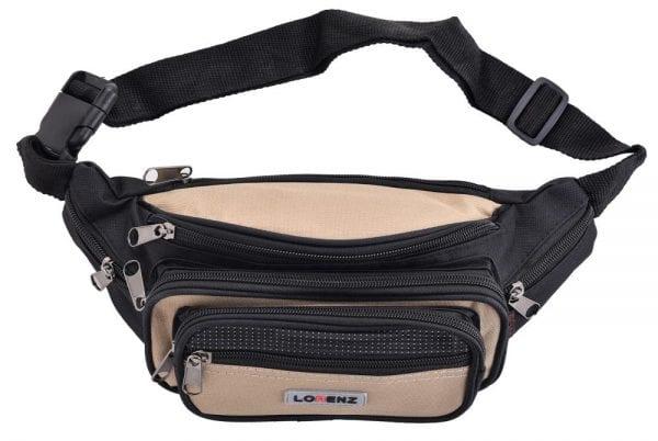 Lightweight Canvas Waist Bag with Multi Zips