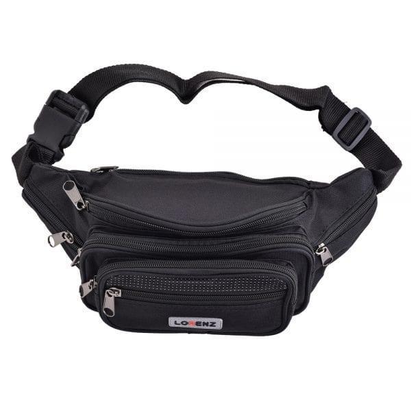 Lightweight Canvas Waist Bag with Multi Zips in Black