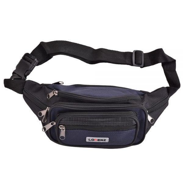 Lightweight Canvas Waist Bag with Multi Zips in Navy