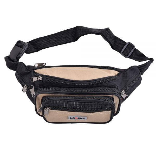 Lightweight Canvas Waist Bag with Multi Zips in Beige