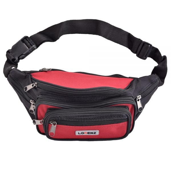 Lightweight Canvas Waist Bag with Multi Zips in Red
