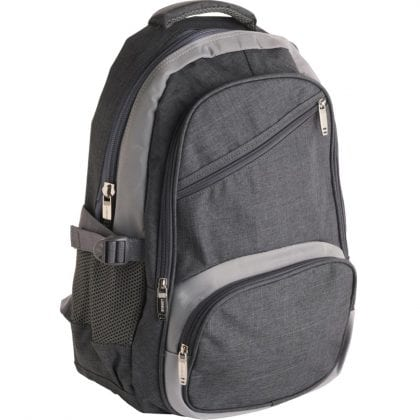 Denim Look Backpack with 4 Zips and 2 Side Pockets