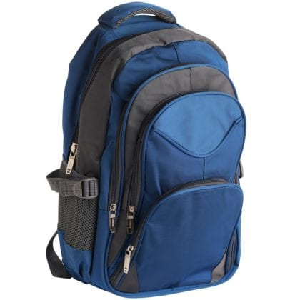Nylon Backpack - Rucksack with 4 Zips and 2 Side Pockets