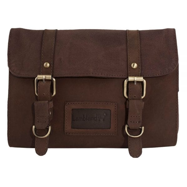 Leather and Canvas Hanging Wash - Toiletry Bag in Brown