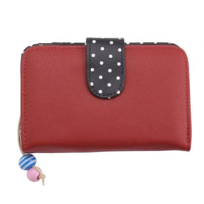 Ladies - Girls Faux Leather Bifold Purse with Zipped Coin Section