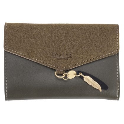 Ladies Faux Leather and Suede Trifold Purse with Zipped Coin Section