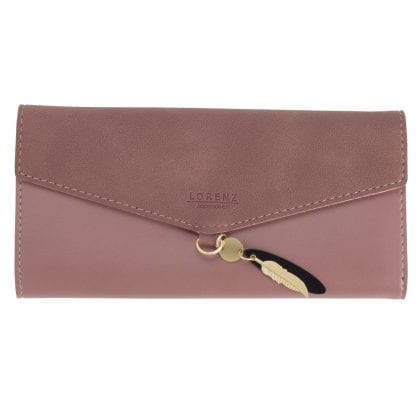 Ladies Faux Leather and Suede Large Trifold Purse