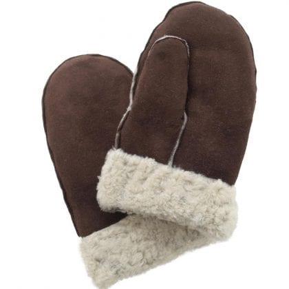 Ladies Genuine Sheepskin Whole Piece Mitten with Sheepskin Cuff