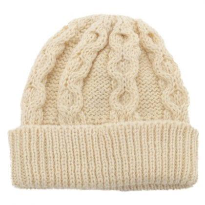 Unisex 100% Wool Aran Bob Hat