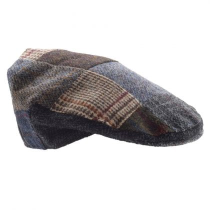 Mens Traditional Patch Harris Tweed Cap