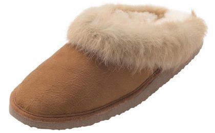 Ladies Real Sheepskin Collared Mule Slippers with Hard Sole - Top