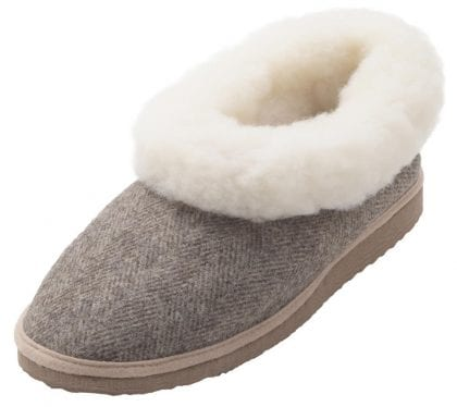 Ladies Genuine Sheepskin and Tweed Boot Slippers with Hard Sole - Top