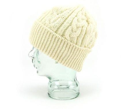 Unisex 100% Wool Aran Bob Hat - Left