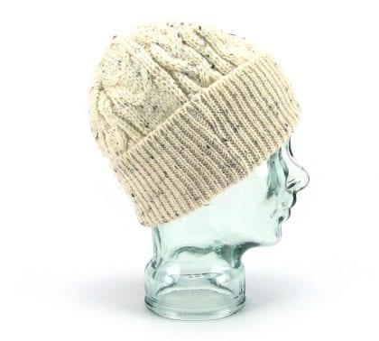 Unisex Flecked 100% Wool Aran Bob Hat - Right