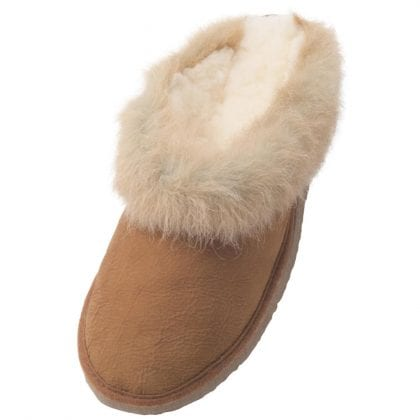 Ladies Real Sheepskin Collared Mule Slippers with Hard Sole