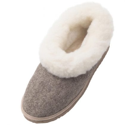 Ladies Genuine Sheepskin and Tweed Boot Slippers with Hard Sole