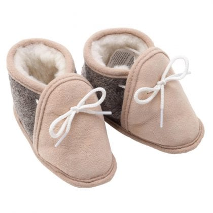 Super Soft Genuine Sheepskin and Tweed Baby Booties
