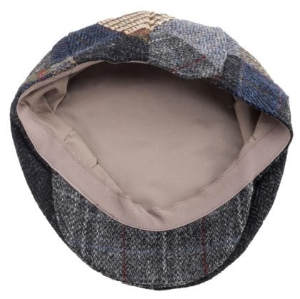 Mens Traditional Patch Harris Tweed Cap - Inside