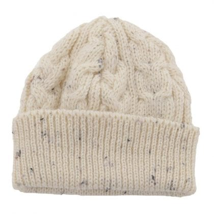 Unisex Flecked 100% Wool Aran Bob Hat