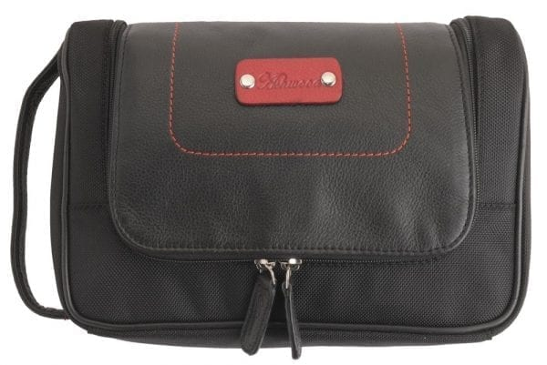 Genuine Leather Zipped Hanging Toiletry Bag in Black and Red-0