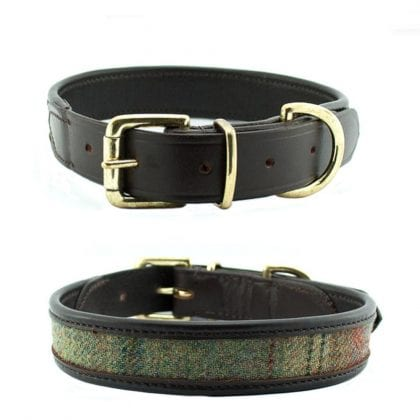 Luxury Brown Leather and Tweed Dog Collar