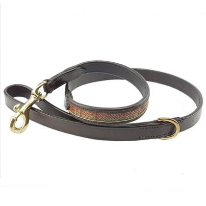 Luxury Brown Leather and Tweed Dog Lead 2